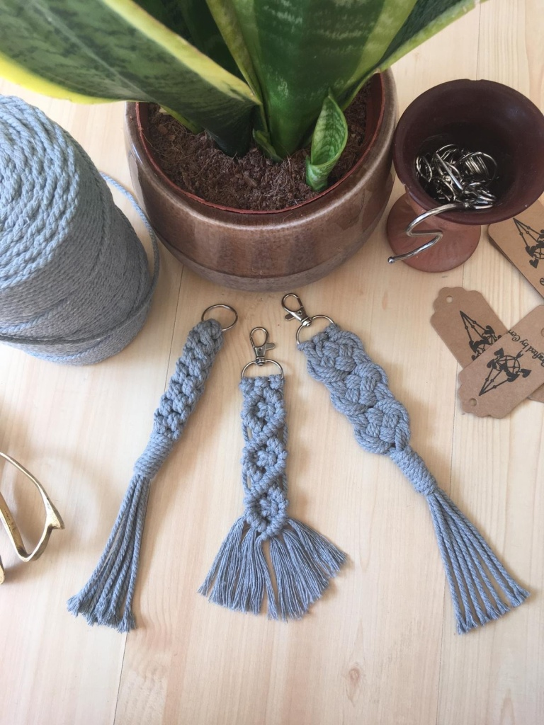 set of stylish macrame keychains