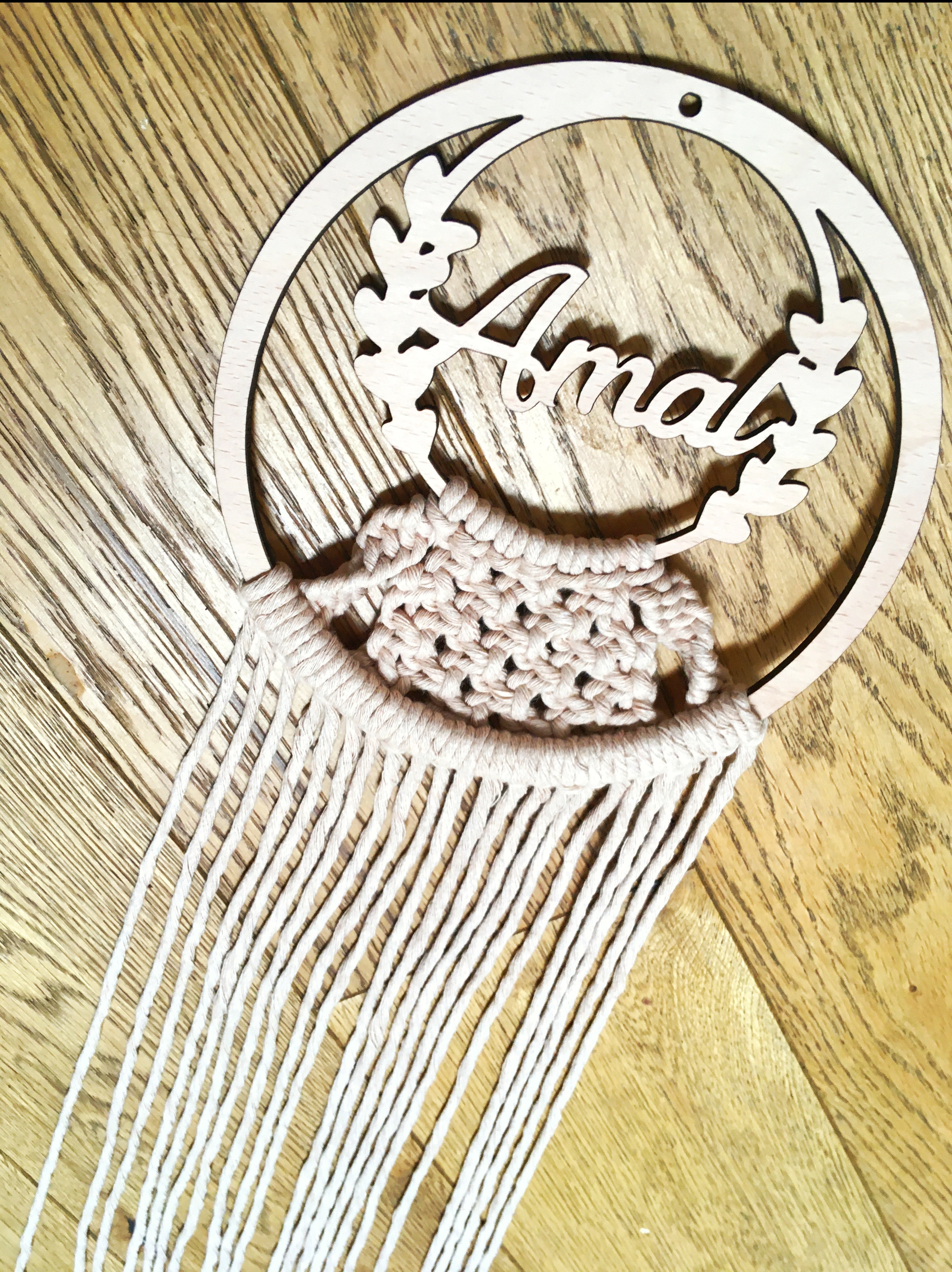 wooden name with beautiful cotton macrame