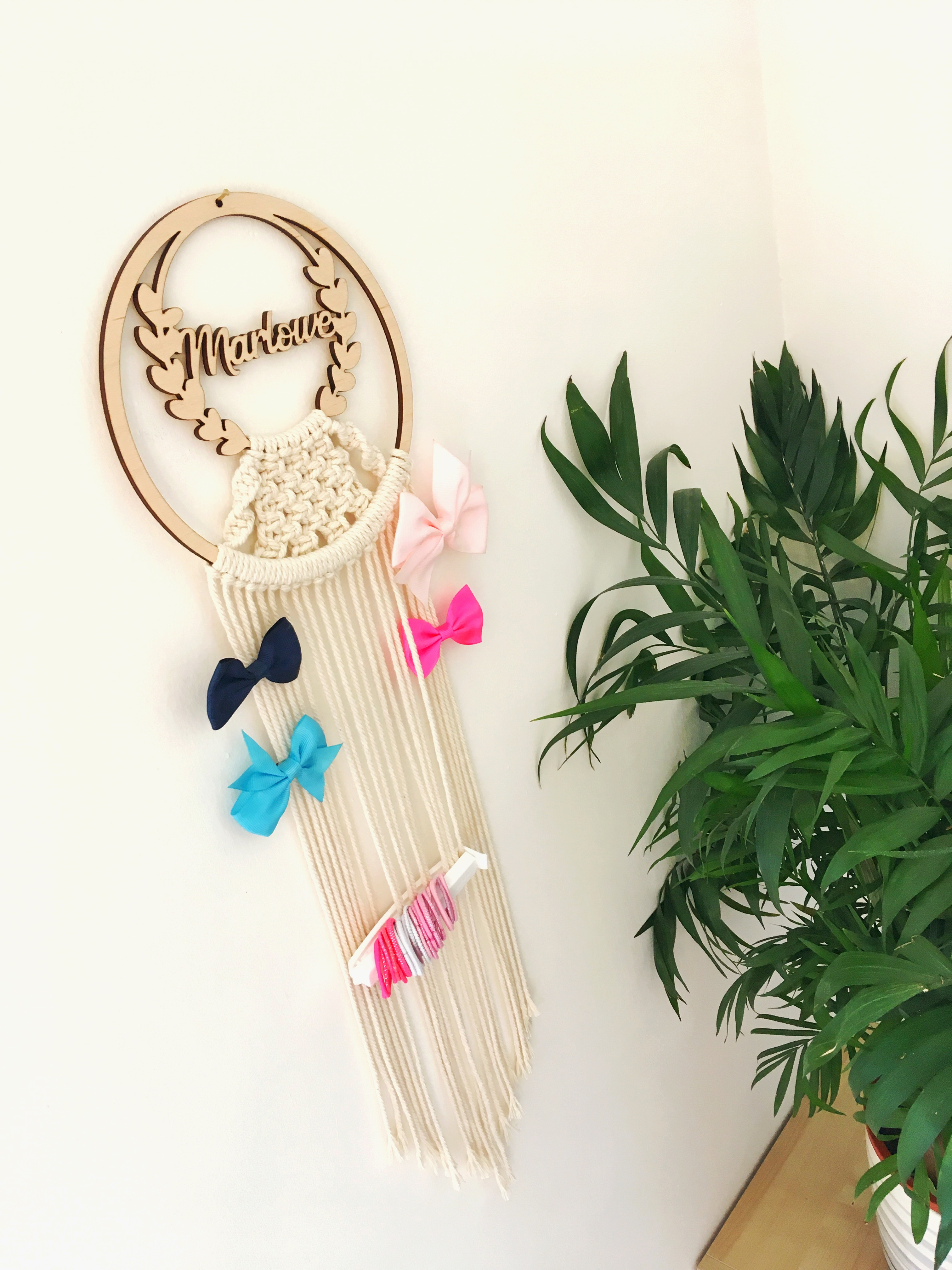 Bow holder, personalised bow holder, name bow holder